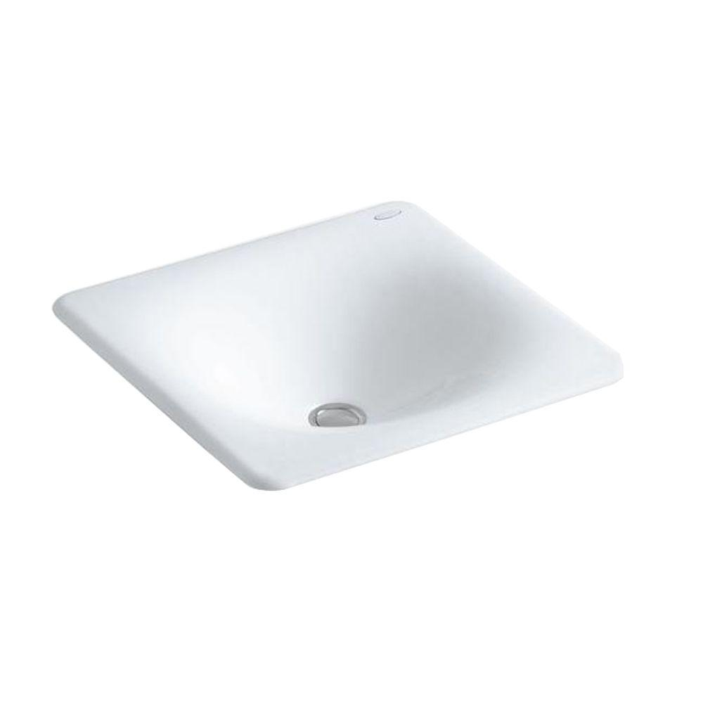 KOHLER Iron/Tones Under-Mount Cast Iron Bathroom Sink in White