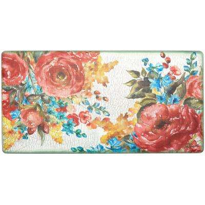Cook N Comfort Multi Romantic Fleur 20 in. x 39 in. Kitchen Mat