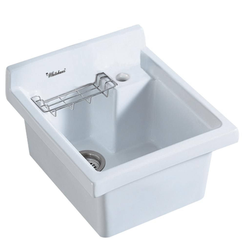 White Single Bowl Drop In Kitchen Sink Part - 27: Whitehaus Collection All-in-One Drop-in Vitreous China 21 In. 1