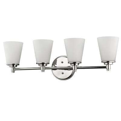 Conti 4-Light Polished Nickel Vanity Light with Etched Glass Shades