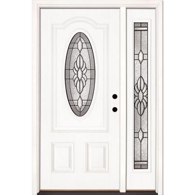 50.5 in.x81.625 in. Sapphire Patina 3/4 Oval Lite Unfinished Smooth Left-Hand Fiberglass Prehung Front Door w/ Sidelite