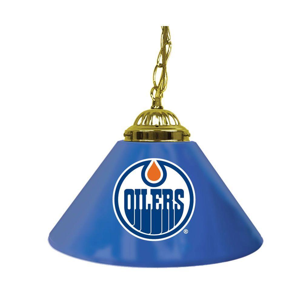 null NHL Edmonton Oilers 14 in. Single Shade Stainless Steel Hanging Lamp