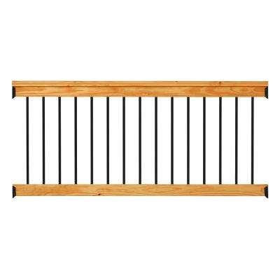 Western Red Cedar 6 ft. Railing Kit with Black Aluminum Balusters