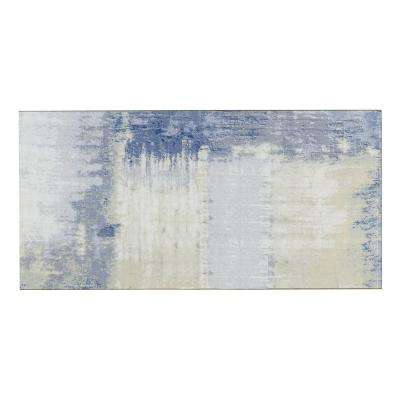 Blue Subway Rectangle 4 in. x 8 in. Stone Look Matte Glass Decorative Bathroom Wall Backsplash Tile (10-Piece/Pack)