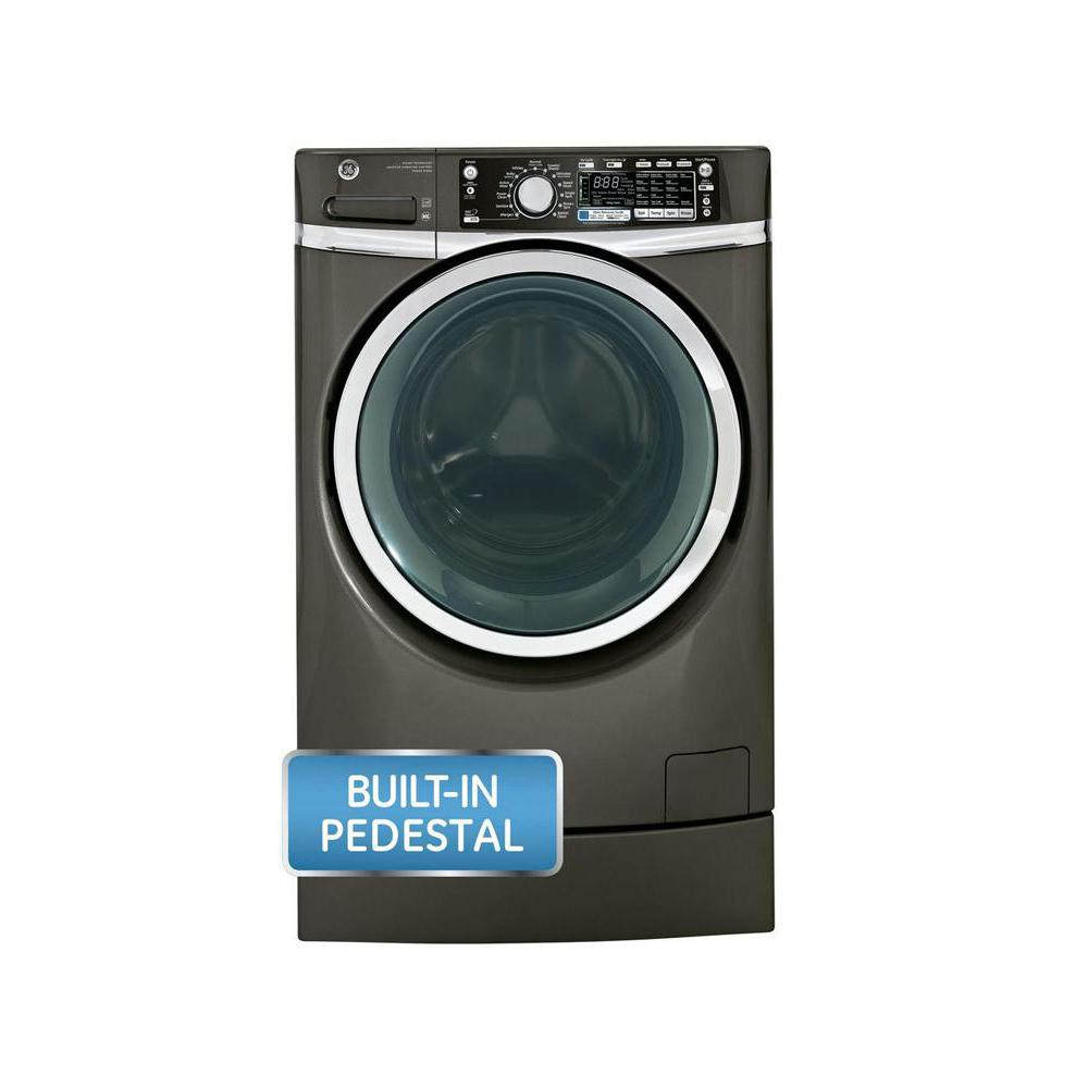 GE 4.8 DOE cu. ft. High-Efficiency Right Height Front Load Washer with Steam in Metallic Carbon, ENERGY STAR