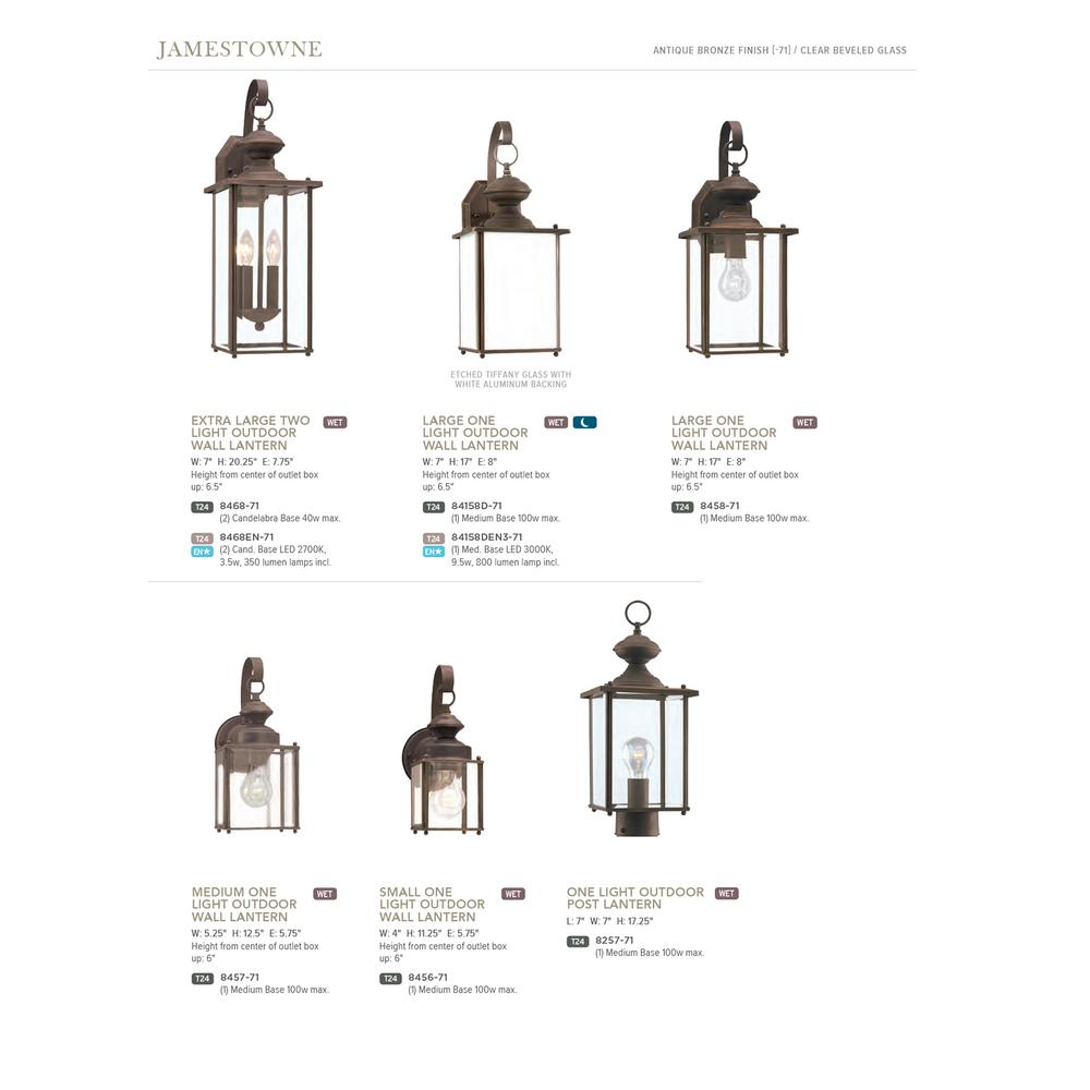 Sea Gull Lighting Jamestowne 2-Light Antique Bronze Outdoor 20 25 in  Wall  Lantern Sconce with Dimmable Candelabra LED Bulb