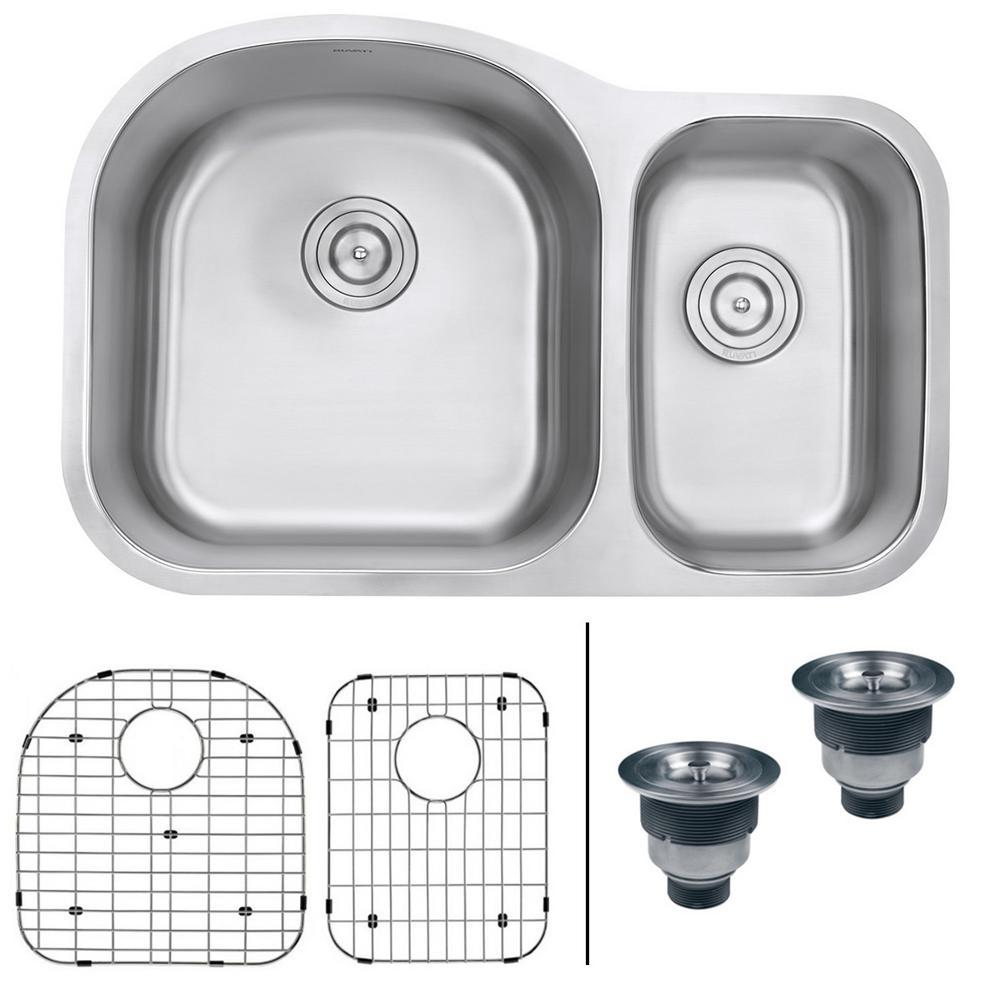 Ruvati Undermount Stainless Steel 32 In 16 Gauge 60 40 Double Bowl Kitchen