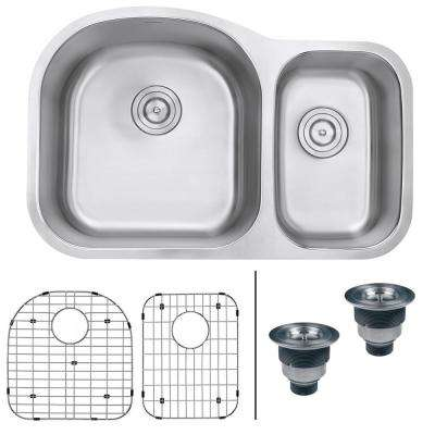 Undermount Stainless Steel 32 in. 16-Gauge 60/40 Double Bowl Kitchen Sink - Left Configuration
