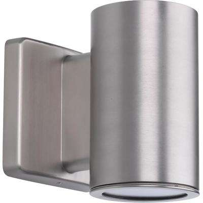 Cylinders Collection 1-Light Satin Nickel Integrated LED Outdoor Wall Mount Cylinder Light