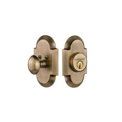 Cottage Plate 2-3/8 in. Backset Single Cylinder Deadbolt in Antique Brass
