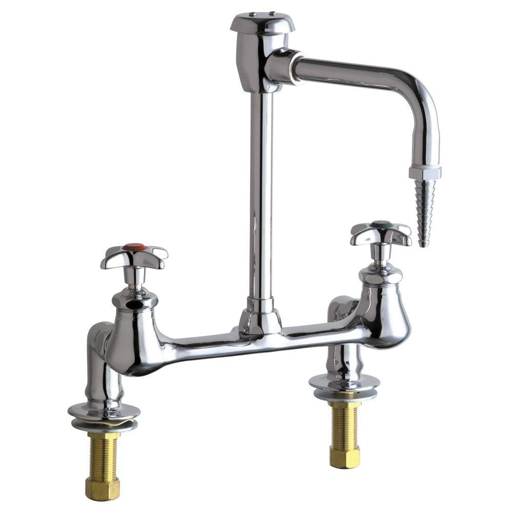 Chicago Faucets 2-Handle Laboratory Faucet in Chrome with 6 in. Rigid/Swing Gooseneck Spout and Vacuum Breaker