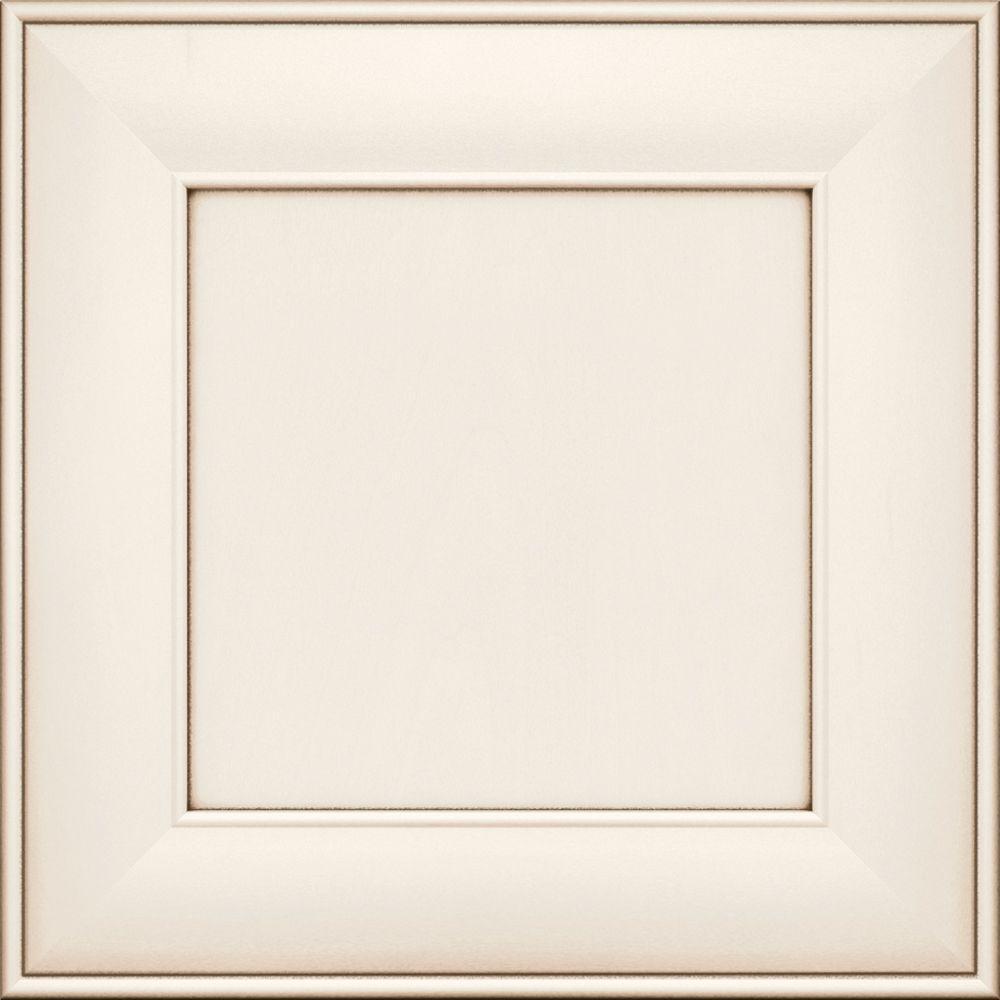 15x15 in. Cabinet Door Sample in Jasper Maple Square in Dove White with Cocoa Glaze
