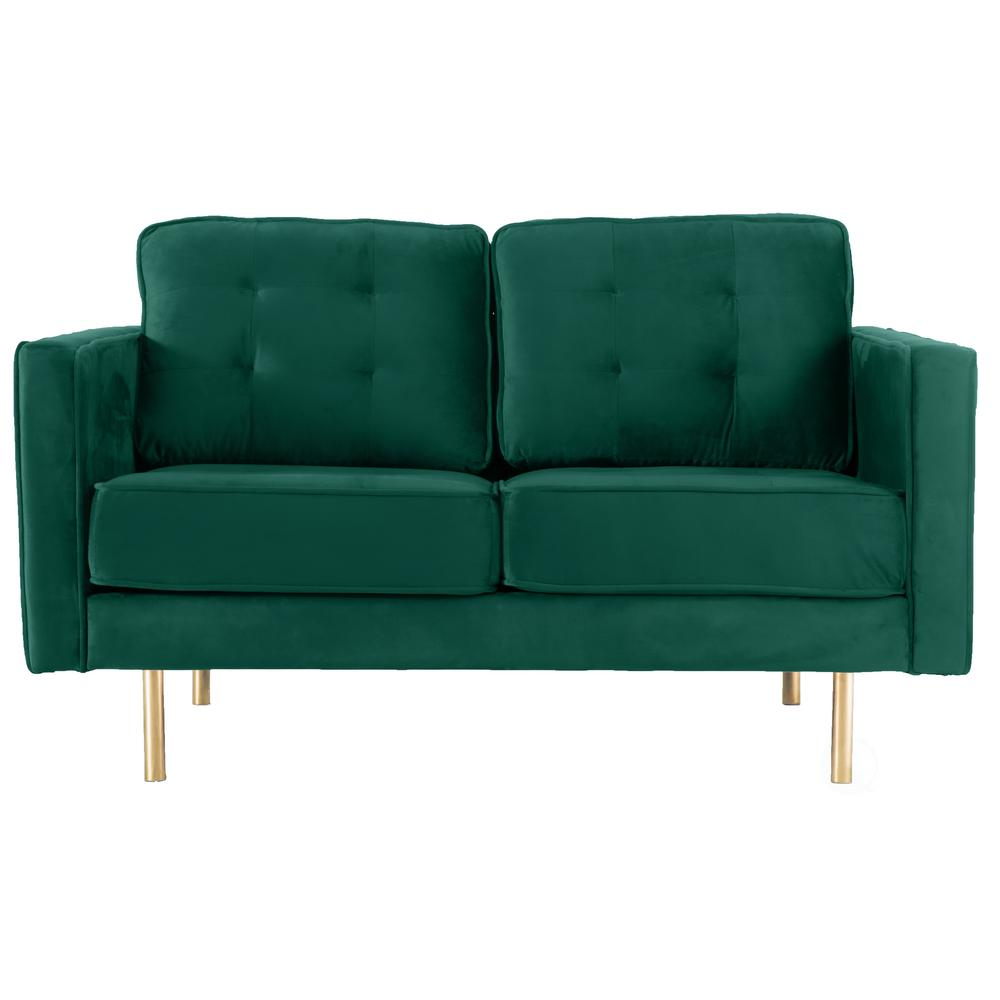 Unbranded Bold Tones Teal Velvet 2 Seat Loveseat Sofa With Gold Legs, Modern Tufted Fabric Couch-QI003532M - The Home Depot