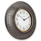 La Crosse Technology 16 in. Antiqued Brown Lattice Round Analog Wall Clock