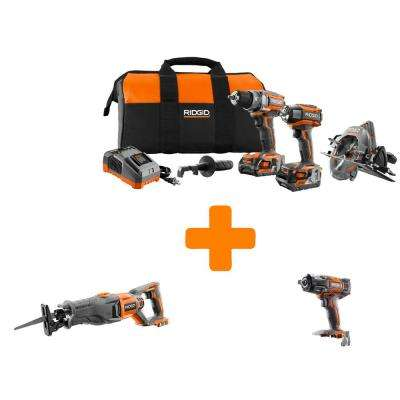 GEN5X 18-Volt Lithium-Ion Brushless Cordless Combo Kit (3-Tool) with Bonus Reciprocating Saw and Impact Wrench