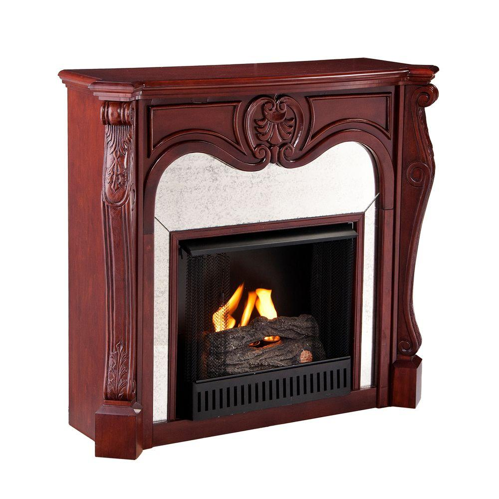 Southern Enterprises Belmont 45 in. Gel Fuel Fireplace in Cherry-DISCONTINUED
