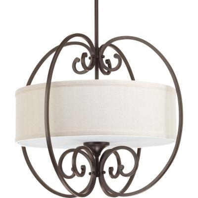 Overbrook Collection 3-Light Antique Bronze Small Pendant with Natural Linen Shade