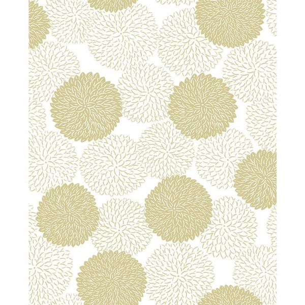 A-Street 56.4 sq. ft. Blithe Gold Floral Wallpaper
