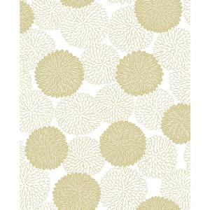 8 in. x 10 in. Blithe Gold Floral Wallpaper Sample