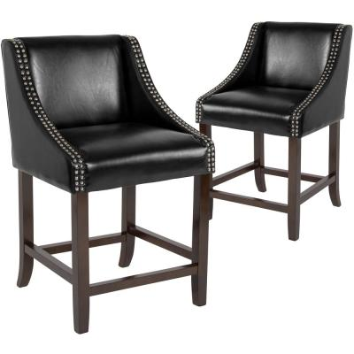 24 in Black Leather Bar Stool (Set of 2)