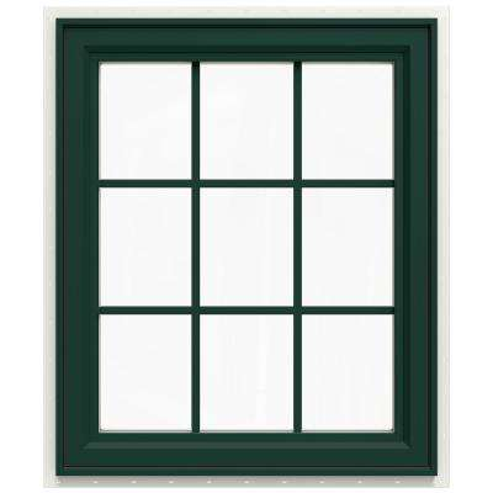 29.5 in. x 35.5 in. V-4500 Series Left-Hand Casement Vinyl Window with Grids - Green
