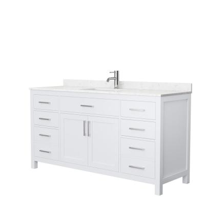 Beckett 66 in. W x 22 in. D Single Vanity in White with Cultured Marble Vanity Top in Carrara with White Basin