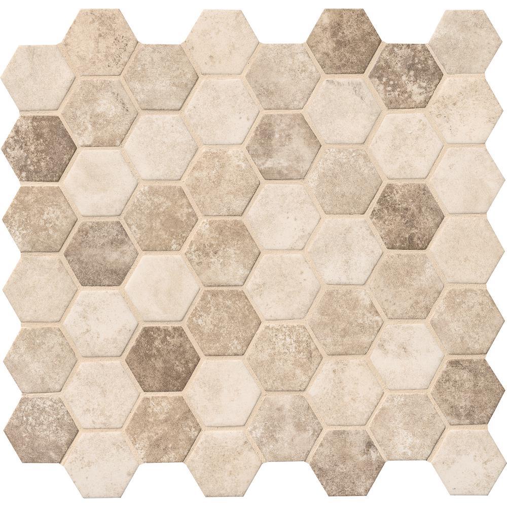 Sandhills Hexagon 12 in. x 12 in. x 6mm Glass Mesh-Mounted Mosaic Tile (14.7 sq. ft. / case)