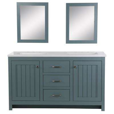 Harrisford 61 in. W x 22 in. D Bath Vanity in Sage with Cultured Marble Vanity Top and Sink in White and Mirrors