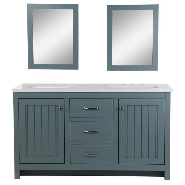 Home Decorators Collection Harrisford 61 In W X 22 In D Bath Vanity In Sage With Cultured Marble Vanity Top And Sink In White And Mirrors W2060p4 Se The Home Depot