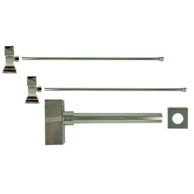 3/8 in. x 20 in. Brass Lavatory Supply Lines with Square Handle Shutoff Valves and Decorative Trap in Polished Nickel