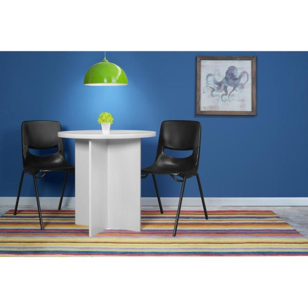 Mod White Wood Grain 30 in  Round Table