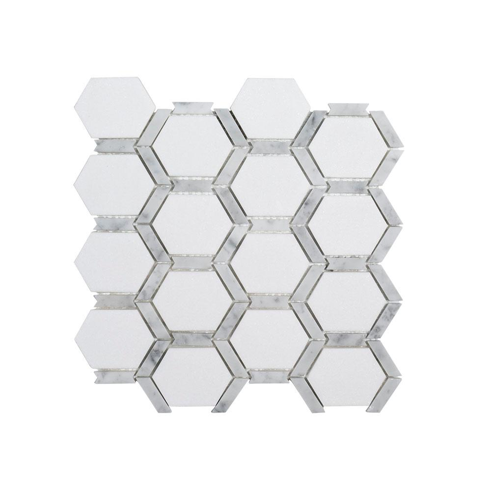 Jeff Lewis Norton White 11.75 in. x 11.375 in. x 9 mm Hexagon Polished Marble Wall and Floor Mosaic Tile