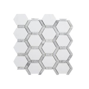 Norton White 11.75 in. x 11.375 in. x 9 mm Hexagon Polished Marble Wall and Floor Mosaic Tile