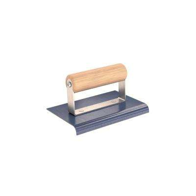 6 in. x 4 in. Blue Steel Edger with 3/8 in. Radius and Wood Handle