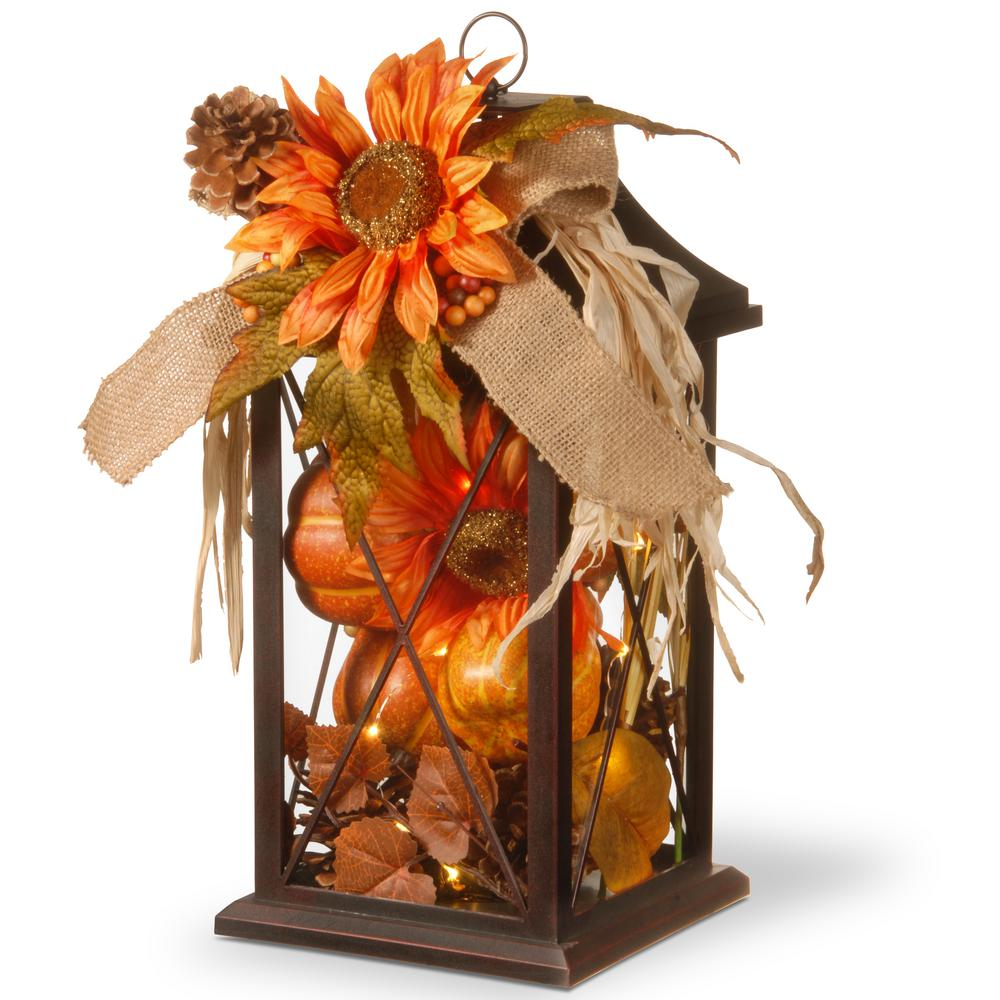 National Tree Company 15 in. Autumn Lantern Decor with LED Lights