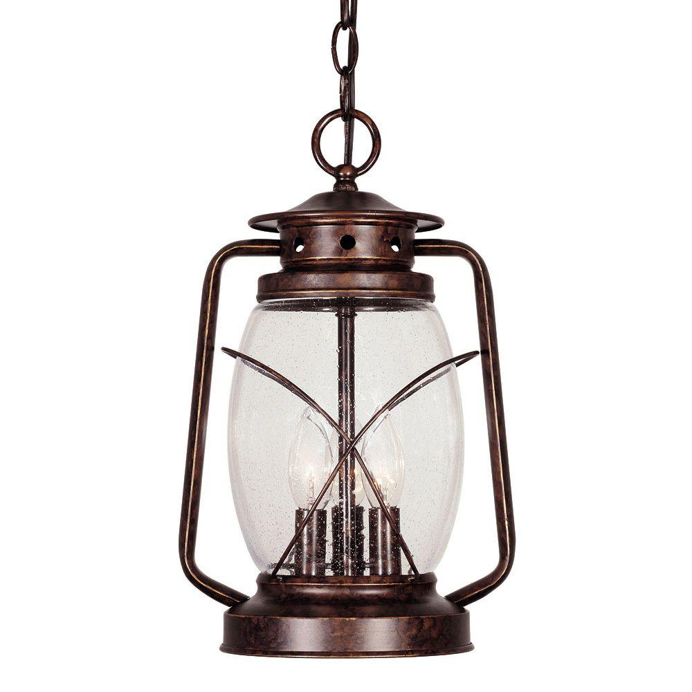 3-Light Hanging Lantern New Tortoise Shell Finish Clear Seeded Glass