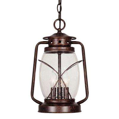 3-Light Hanging Lantern New Tortoise Shell Finish Clear Seeded Glass