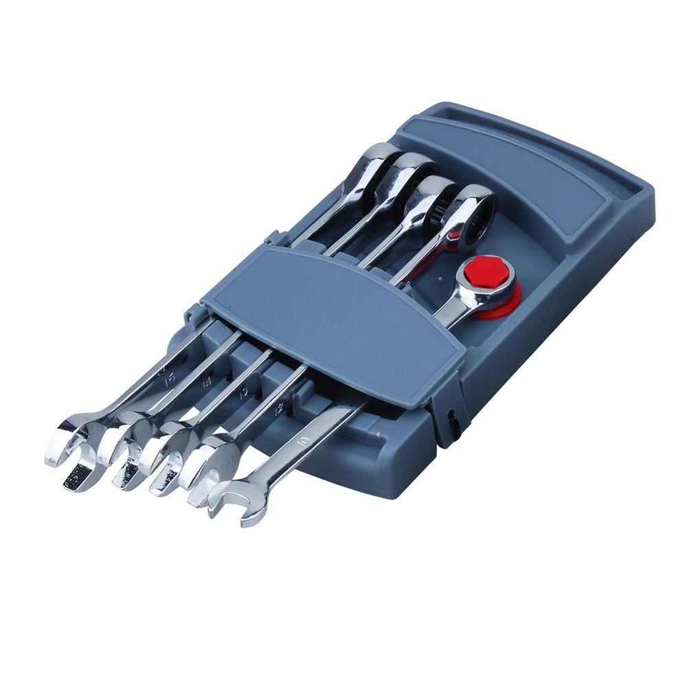 Vanadium Steel Metric Ratchet Wrench Set (5-Piece) with Case