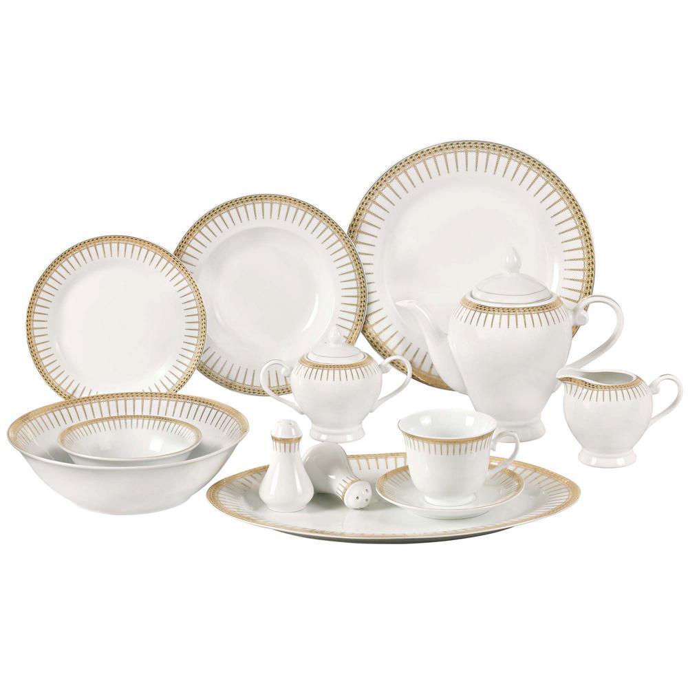 Lorren Home Trends 57-Piece Gold Border Porcelain Dinnerware Set  sc 1 st  Home Depot & Lorren Home Trends 57-Piece Gold Border Porcelain Dinnerware Set ...