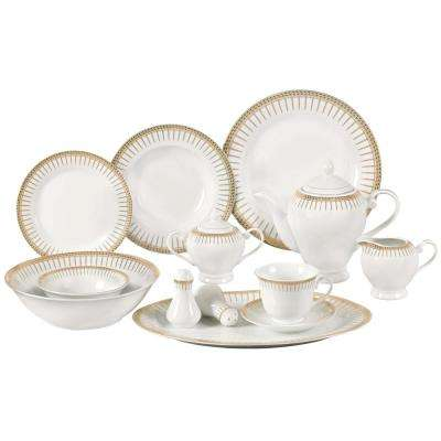 57-Piece Gold Border Porcelain Dinnerware Set