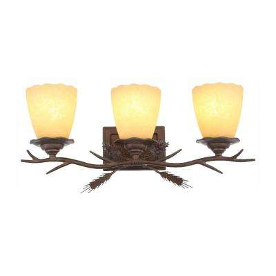 Lodge 3-Light Weathered Spruce Vanity Light with Sunset Glass Shades, Dimmable LED Soft White Bulbs Included