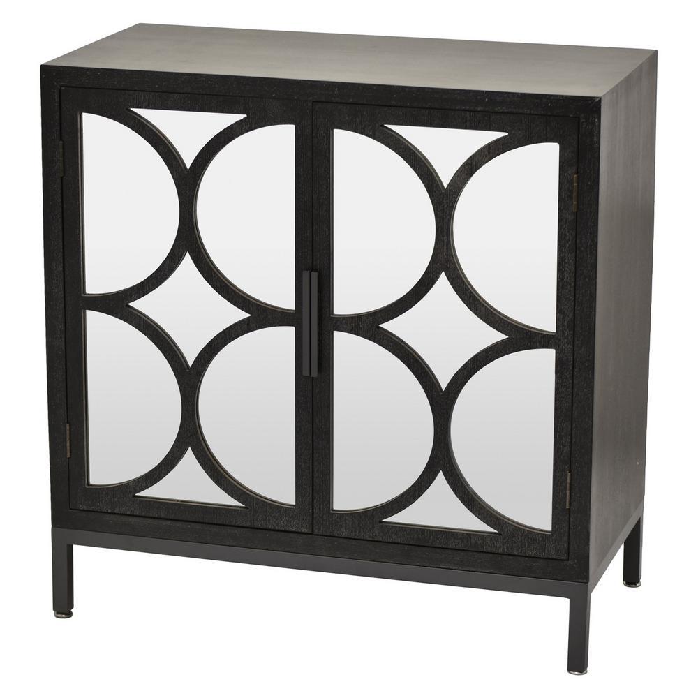 31.75 in. 2-Doors Black Wood Cabinet