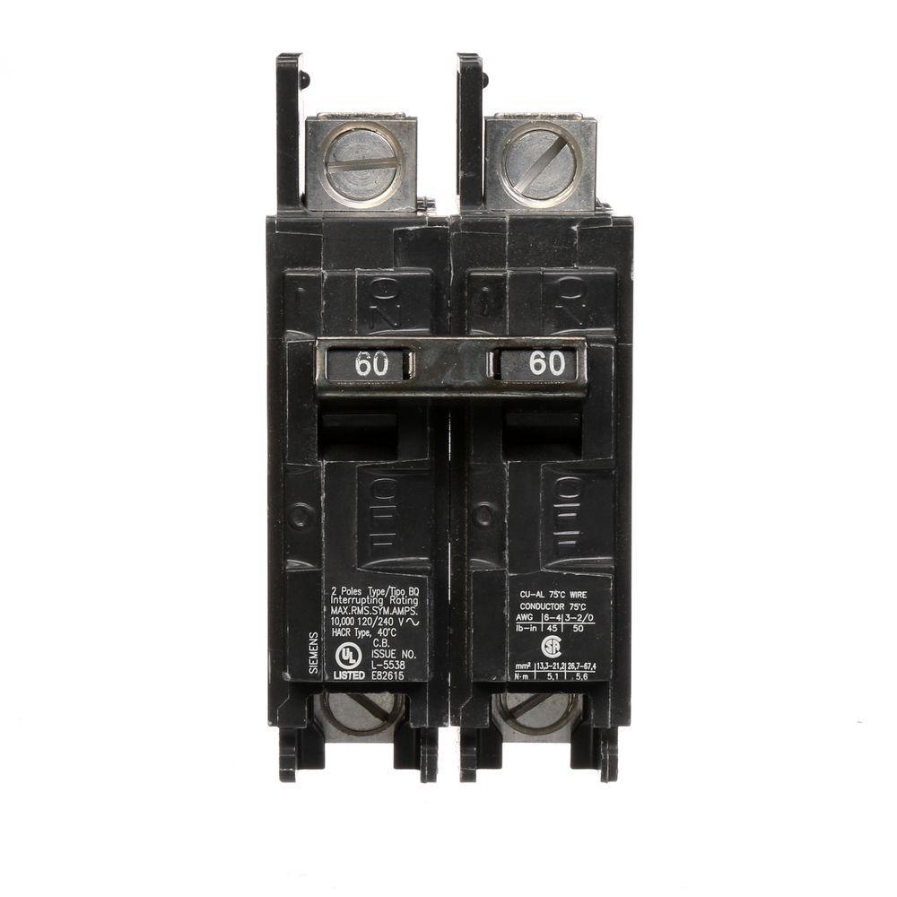 60 Amp Double-Pole Type BQ 10 kA Lug-In/Lug-Out Circuit Breaker with Line Side Lugs