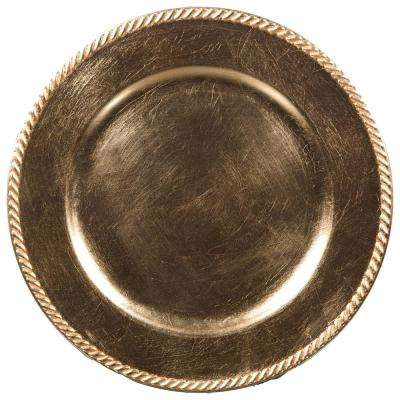 Home Essentials & Beyond 13 in. 4-Piece Rope Gold Plate Charger Set