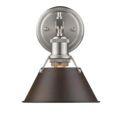 Orwell PW 1-Light Pewter Bath Light with Rubbed Bronze Shade
