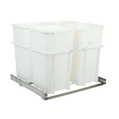 23.375 in. x 22 in. x 19 in. 27 Qt. In-Cabinet Four-Bin Soft-Close Bottom-Mount Pull-Out Trash Can