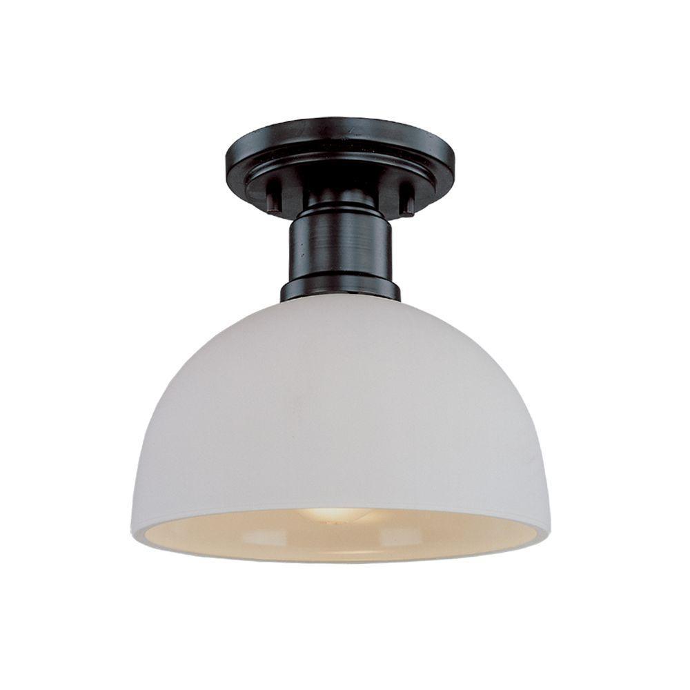 Filament Design Katina 1-Light Dark Bronze Flushmount with Matte Opal Glass