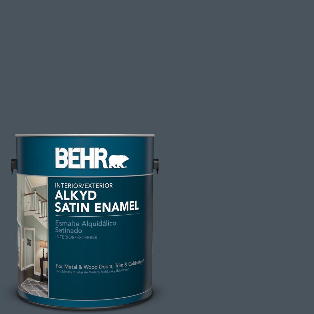 1 gal. #N480-7 Midnight Blue Satin Enamel Alkyd Interior/Exterior Paint