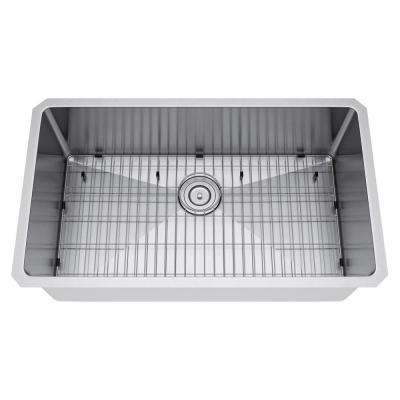 All-in-One Undermount Stainless Steel 29 in. Single Basin Kitchen Sink