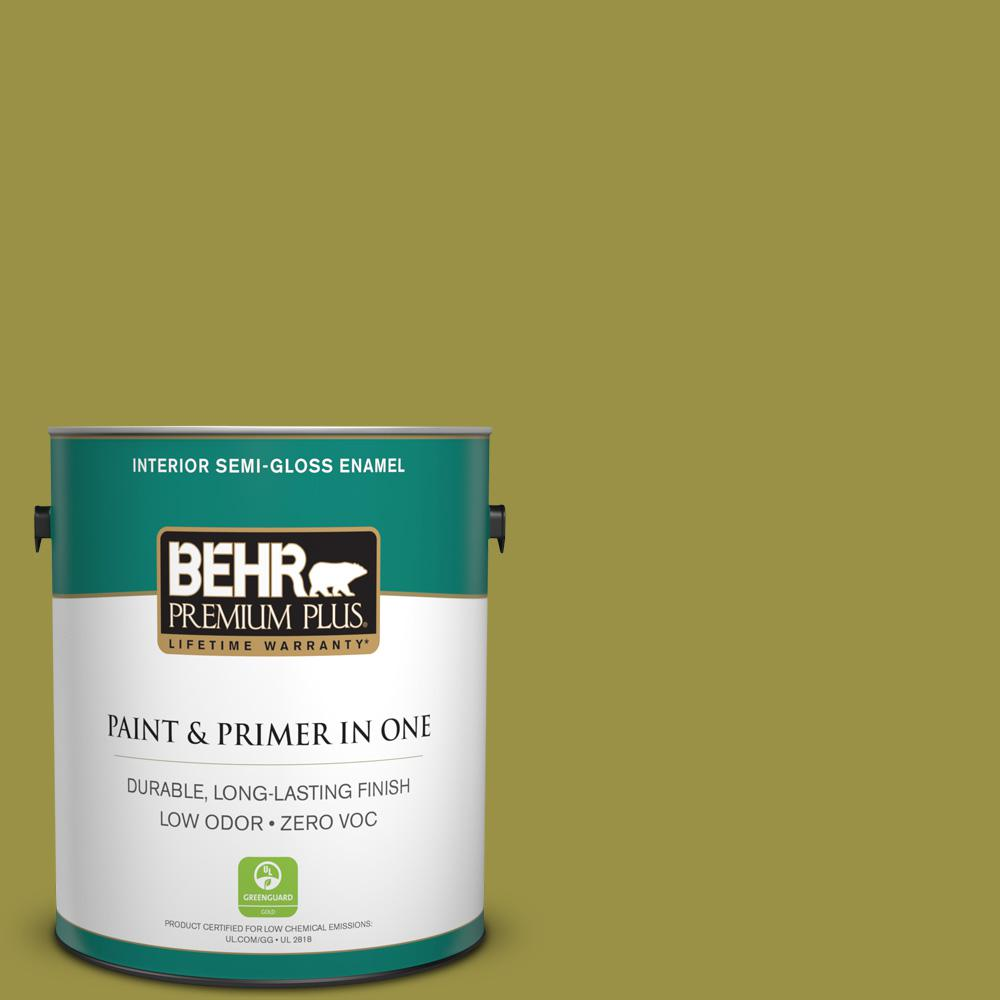 BEHR Premium Plus Home Decorators Collection 1 gal. #HDC-FL13-8 Tangy Dill Semi-Gloss Enamel Zero VOC Interior Paint and Primer in One